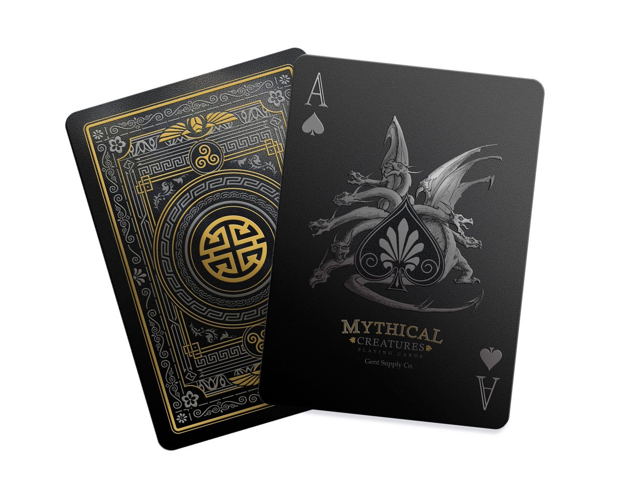 Gent Supply Mythical Creatures - Black Silver & Gold Edition Playing Cards by Gent Supply