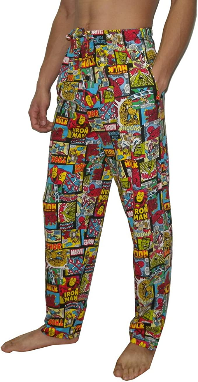 Men Character Lounge Pants Pyjama Bottoms 100/% Cotton Marvel Comics Loungewear