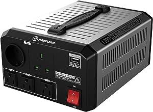 Krieger 1700 Watt Voltage Transformer, 110/120V to 220/240V Step Up Step Down Voltage Converter, MET Approved Under UL, CSA