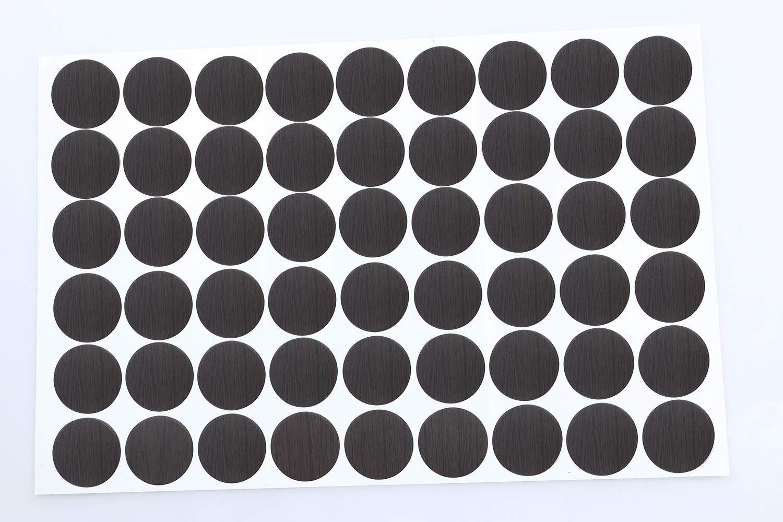 Mini Skater 1 Sheet/54Pcs 20mm Wooden Furniture Accessories Self Adhesive PVC Material Decoration Furniture Cabinet Screw Cap Covers Hole Stickers (Black Walnut)