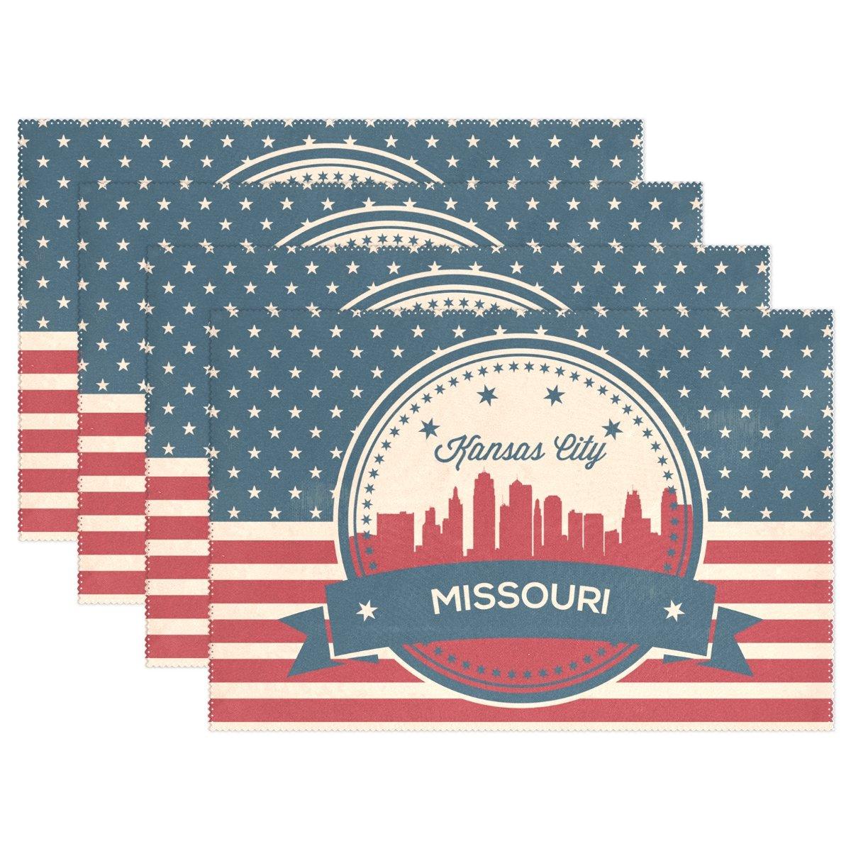 ヴィンテージAmerican Flagミズーリ州カンザス州状態Skylineプレースマットテーブルマット、12