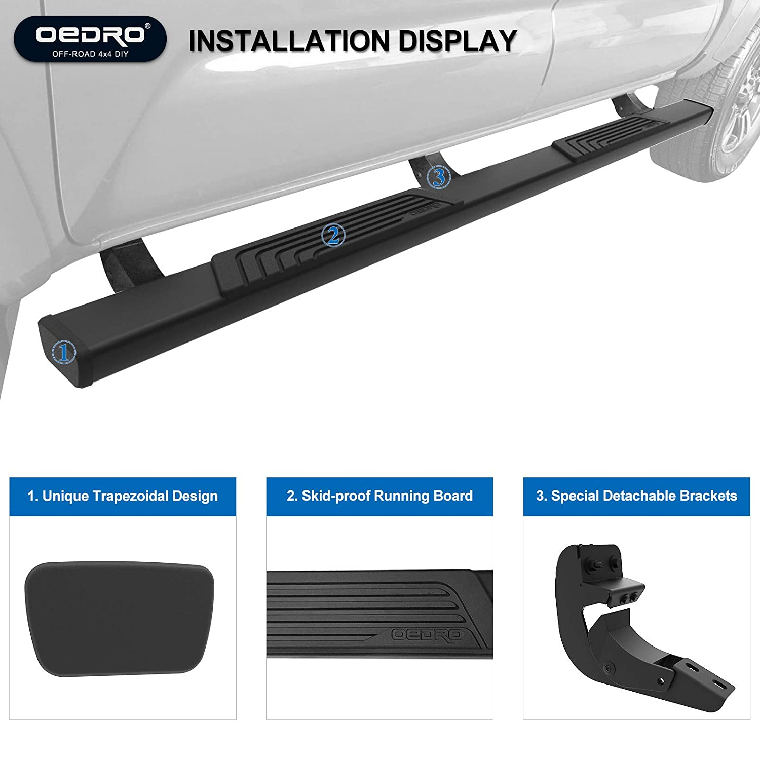 oEdRo Running Boards Fit for 2009-2018 Dodge Ram 1500 /& 2010-2018 Ram 2500//3500 Crew Cab Textured Black Heavy Duty Shield Kit Design 4 inch Nerf Bars Side Steps