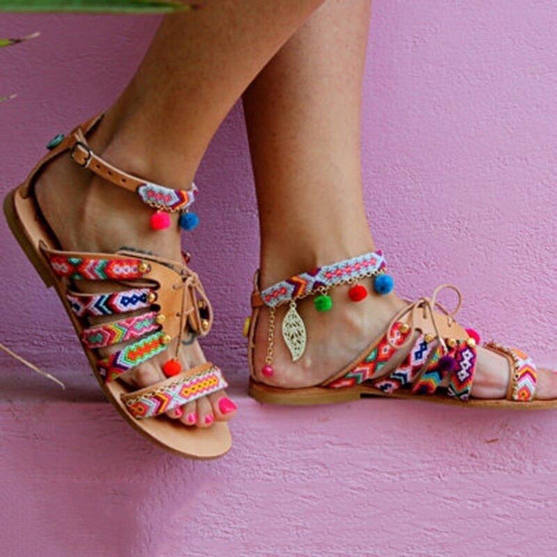 Plus Size 35-43 Bohemian Ethnic Summer Pompon Roman Gladiator Sandals Strappy Embroidered Flat Sandal B07DLS7HBC 4 B(M) US|Negro