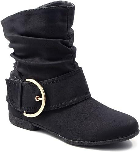 Damen Stiefeletten Western Stiefel Cowboy Boots Flache Schlupfstiefel Schuhe 3VA