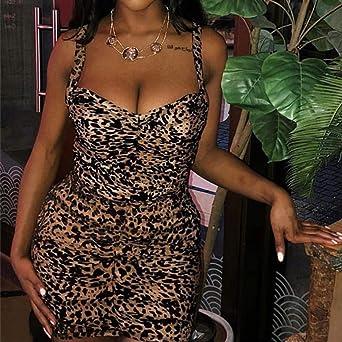 URSING Damska Sexy Mini Kleid Frauen Leopard-Druck Rückenfrei Trägerkleid Etuikleid Bodycon Partei Kleid Wickelkleid: Odzież