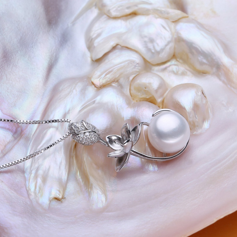 MMC Flower Pearl Silver Pendants Necklaces