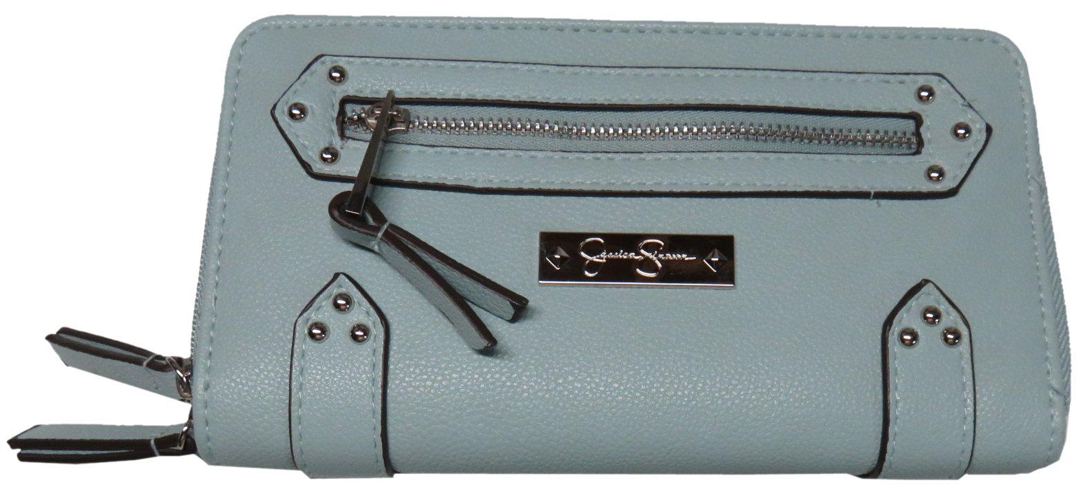 Jessica Simpson Womens Zuri Double Zip Around Wallet, Green