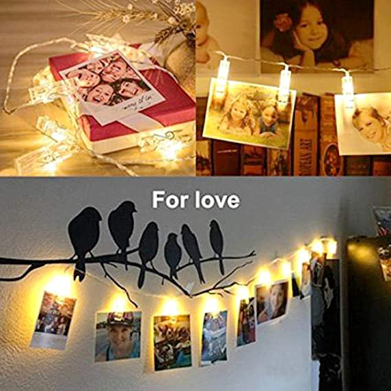LED String Fairy Light 40 LEDs 20 Photo Clips 13ft Decoration for Hanging Pictures Artwork,3AA Battery Operated Warm White Cards