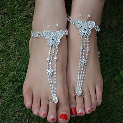 9b843e051ab16c Spritech TM Bling Luxury Rhinestone Design Butterfly Instep Chains Barefoot  Sandals Sexy Toe Ring Anklets for