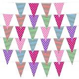 eBoot Multicolore Dot e Striscia Plastica Gagliardetto Pennant 32 Bandiere Decorazione del Festa, 36 Piedi