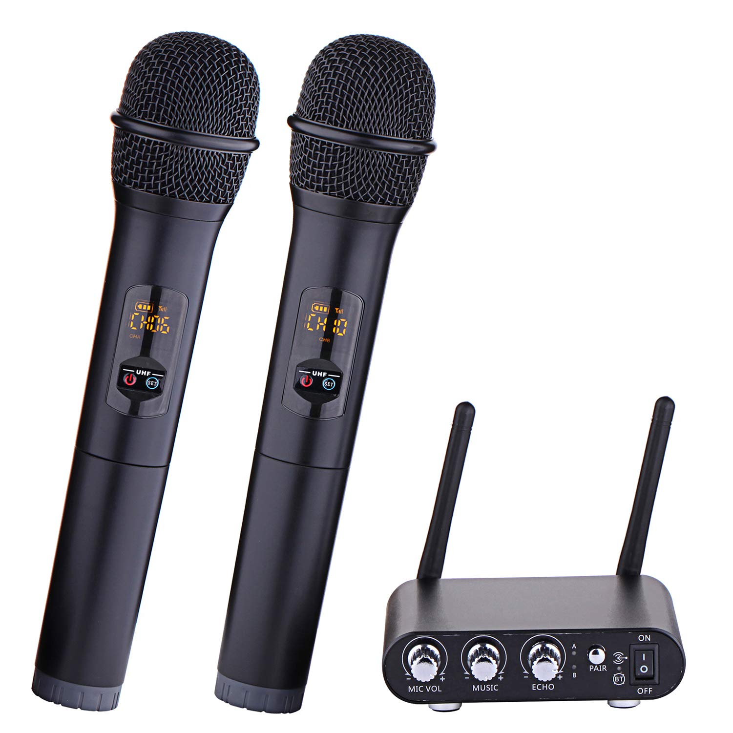 XG-WIN Wireless Dual Channel UHF Microphone System with 2 Handheld Mics Set and Mixer Receiver Base for Family Party, Church, Karaoke Singing-K38 by XG-WIN
