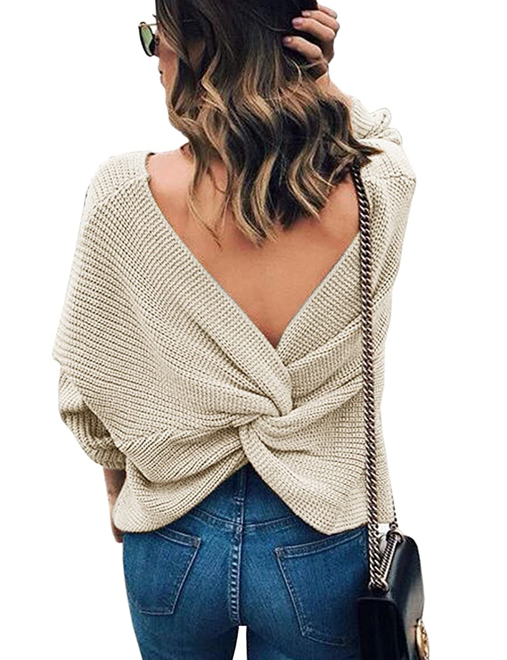 f80bcbf627 Sexyshine Women s Casual V Neck Criss Cross Backless Long Batwing Sleeve  Loose Knitted Sweater Pullovers