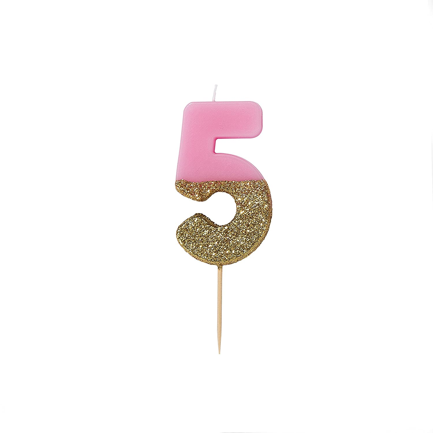 Talking Tables 5 Birthday Candle Cake Topper Gold Glitter And Pink BDAY-CANDLE-5