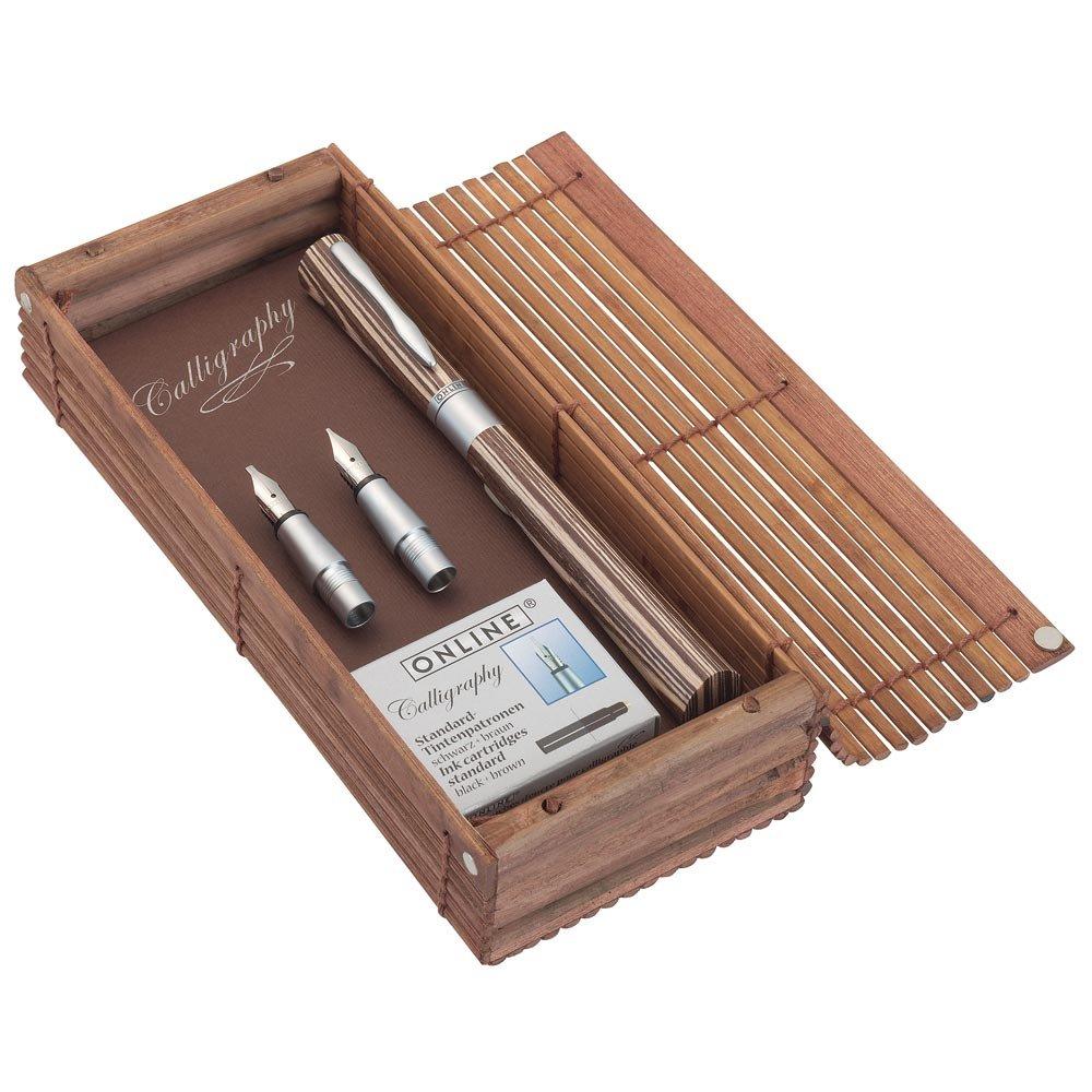 Online 37713 - Penna stilografica da calligrafiaNewood, a cartucce da inchiostro, in legno, ampiezza tratto: 1,4 mm, con manici da 0,8 e 1,8 mm ONLINE Schreibgeräte GmbH ON37713
