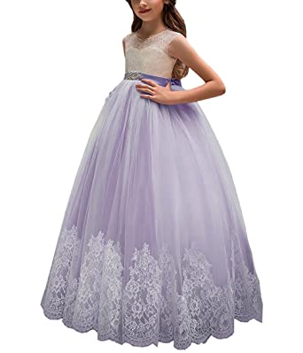 0f936e9f989a3 Momabridal Long Applique Tulle Flower Girl Dresses Crew Neck Communion  Party Ball Gowns Champagne 2
