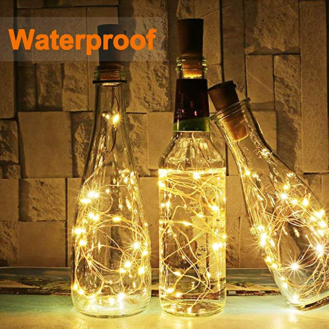 BACKTURE Luz de Botella [20 Pack], Guirnaldas Luminosas Botellas de Vino Luces, 2M 20 LED Bombillas Decoración de Luces para Boda, DIY Fiesta, Adornos ...