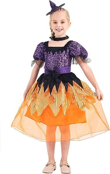 IKALI Disfraz de Bruja para niña, Vestido hechicera Vestido de ...