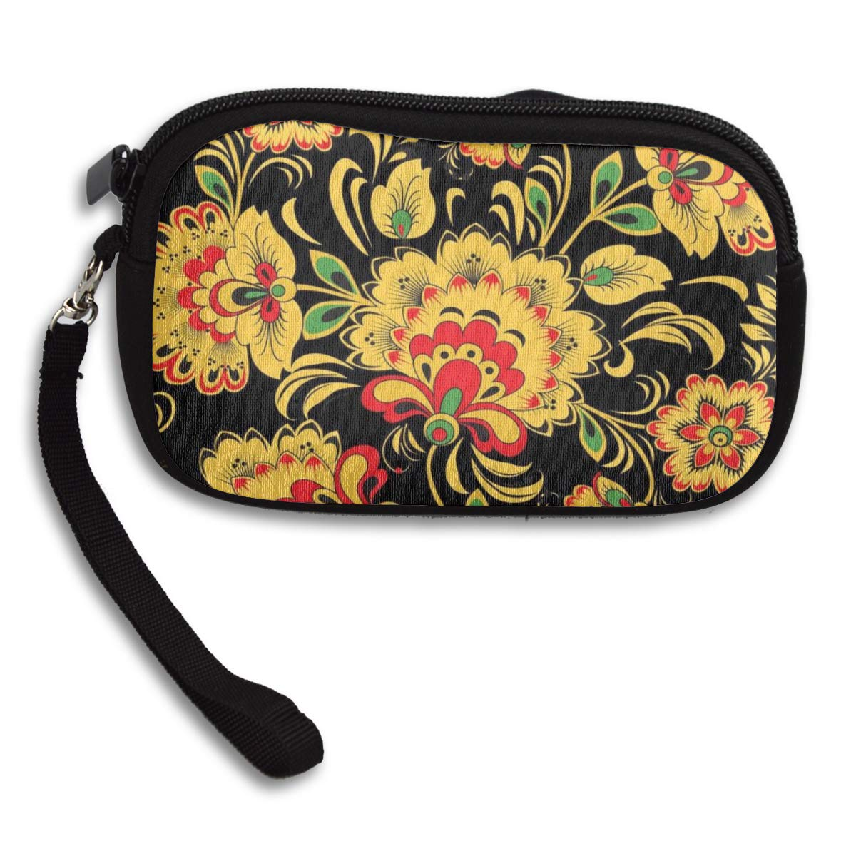 Coin Purse Dark Khokhloma Hohloma Black Coin Pouch With Zipper,Make Up Bag,Wallet Bag Change Pouch Key Holder