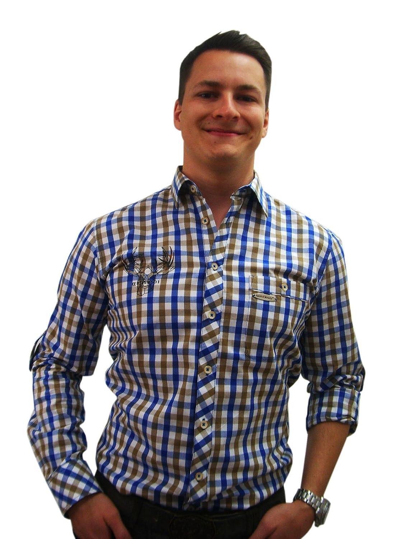 Herren Trachtenhemd blau weiß braun kariert Slim Fit Herrenhemd Langarm von Spieth & Wensky