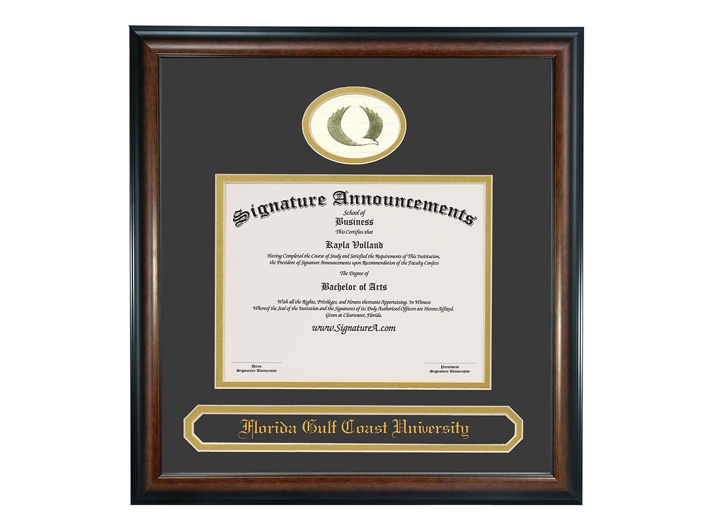 Signature Announcements Florida-Gulf-Coast-University Sculpted Foil Seal /& Name Graduation Diploma Frame 20 x 20 Matte Mahogany