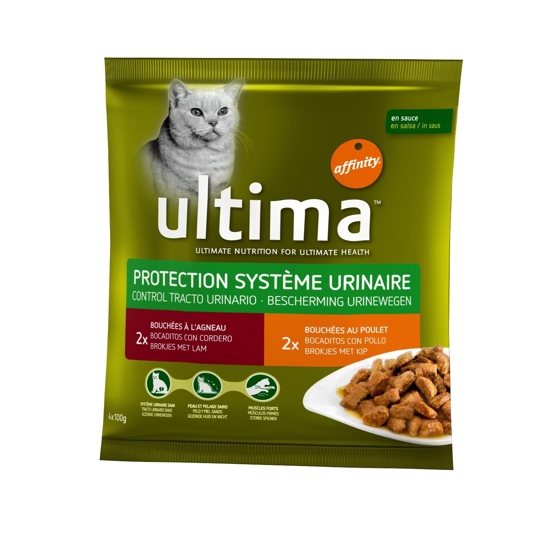 Ultima gato protección sistema urinario 4 x 100 G pochons Cordero ...