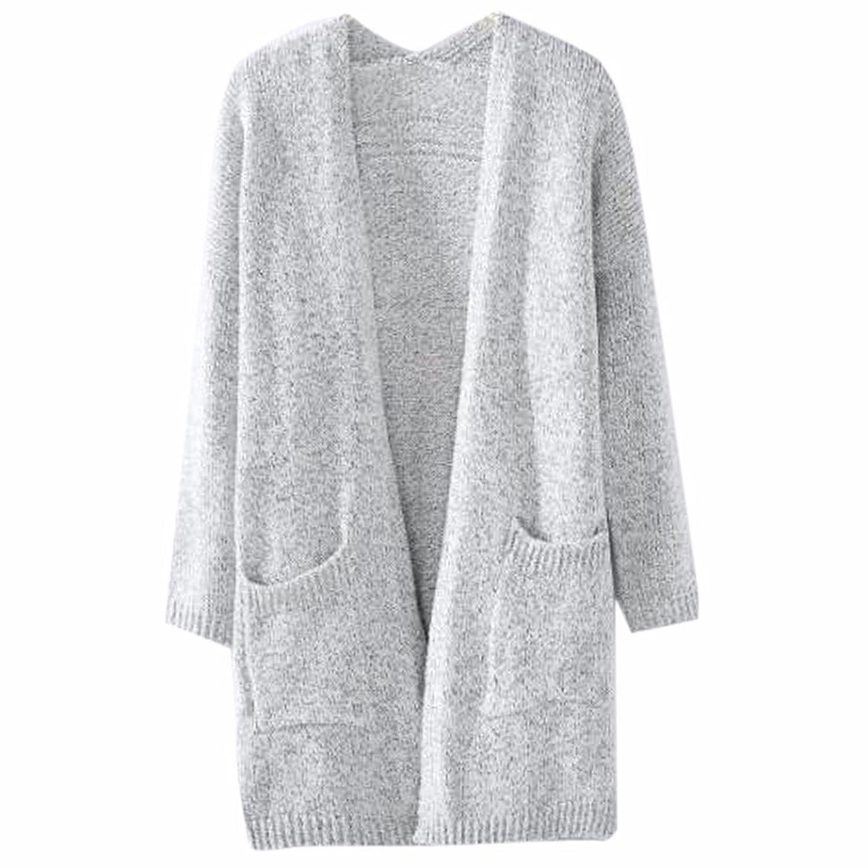 QIYUN.Z Woman Girls Casual Open Cardigan Baggy Knit Sweater Coat