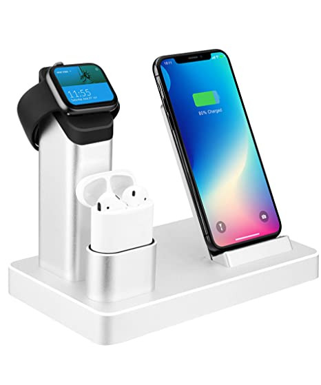 7b178b918838 Wireless Charger.ZIKU 6 in 1 Aluminum Alloy 80W 14A 5-Port USB Wireless  Charger iPhone Apple Watch Charging Stand Station Dock.for Airpods Apple  Watch ...