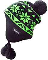 Wantdo Unisex Knitted Ski Winter Hat Crochet Snowflake Pattern Beanie with Pom