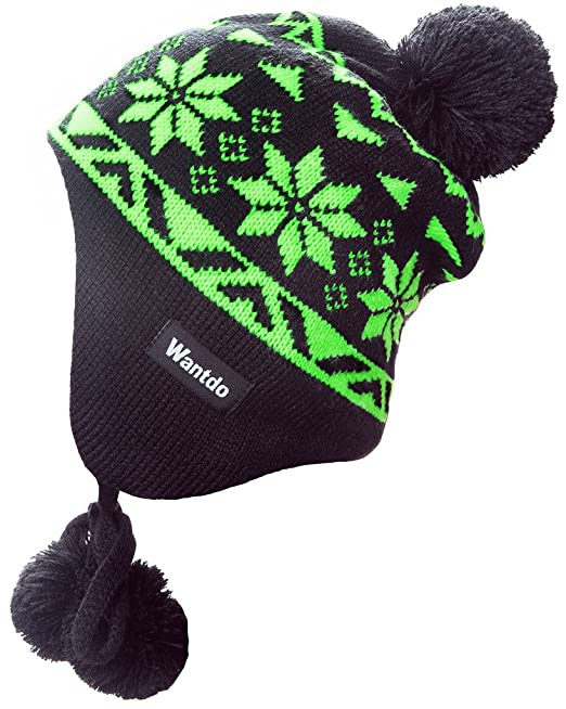 Wantdo Spring Unisex Knitted Ski Hat Crochet Snowflake Pattern Beanie with  Pom Anthracite   Green fea5363cd2a