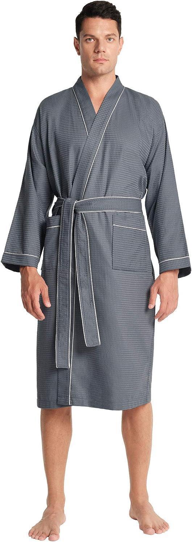 SIORO Mens Waffle Cotton Robe Kimono Lightweight Knit Bathrobe Long Spa Shower Soft House Coat M-XXL