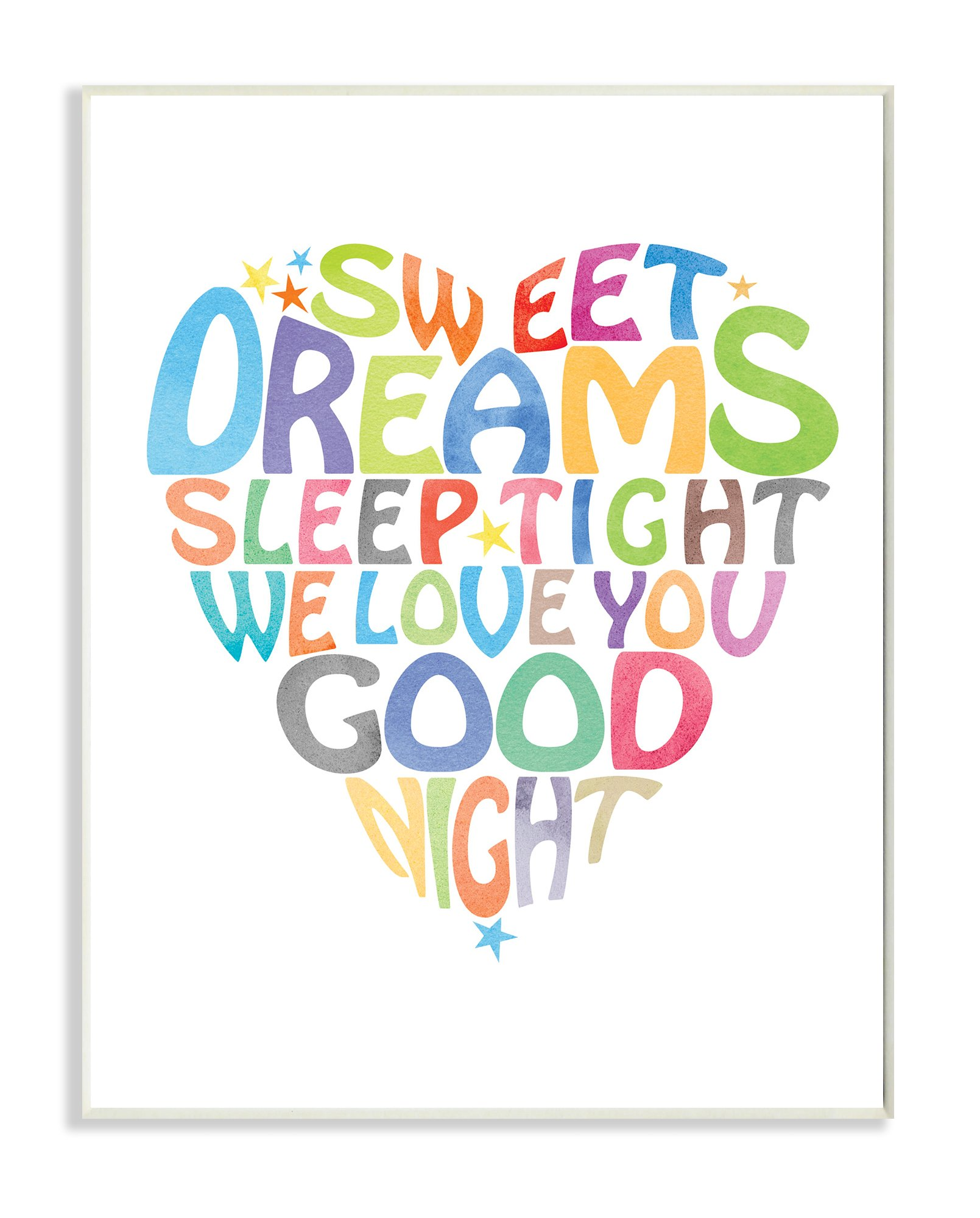 The Kids Room by Stupell Sweet Dreams Heart Graphic Art Wall Plaque, 11 x 0.5 x 15, Proudly Made in USA