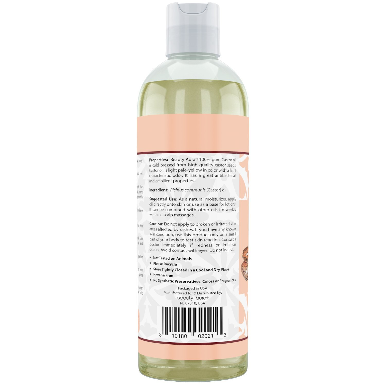 Beauty Aura 100 Percent Pure Castor Oil From Best Quality Castor Seeds 16 Fl Oz