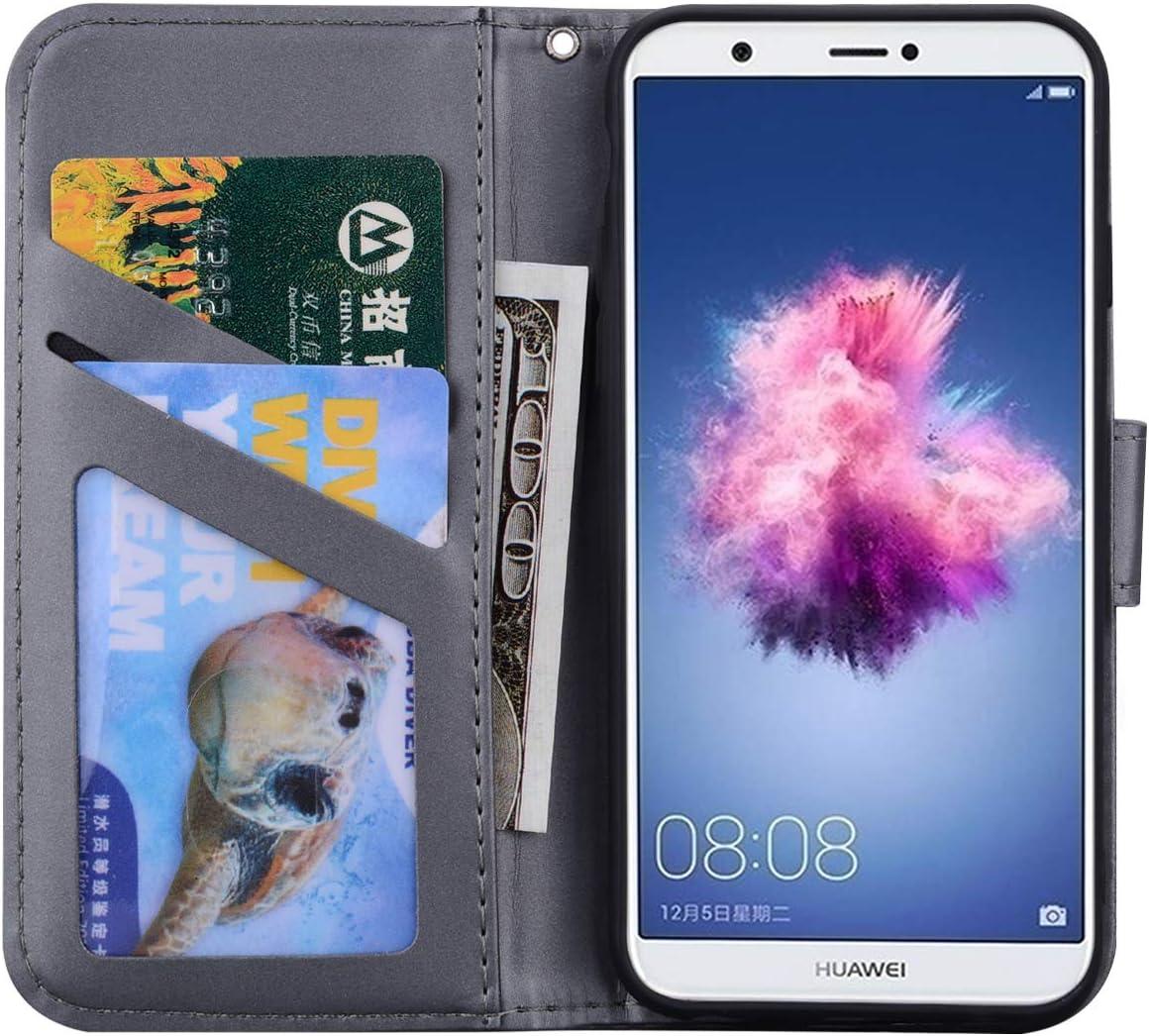 Lomogo Cover Huawei P Smart//Enjoy 7S Portafoglio Custodia a Libro Pelle Porta Carte Chiusura Magnetica Antiurto Flip Wallet Case per Huawei P Smart LOHME010303 Arancio