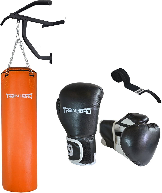 TrainHard – Cajas Saco de boxeo Senior Fighter 110 33 kg relleno m. Soporte de pared & dominadas Boxeo 14oz: Amazon.es: Deportes y aire libre