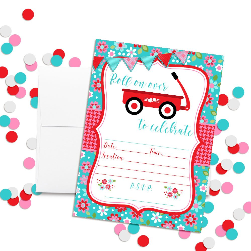 20 5x7 Fill in Cards with Twenty White Envelopes by AmandaCreation 20 5x7 Fill in Cards with Twenty White Envelopes by AmandaCreation Amanda Creation Little Red Wagon Girl Birthday Party Invitations