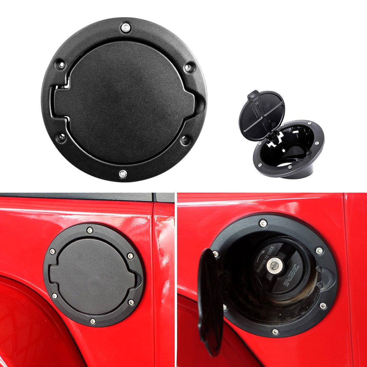 ICARS Jeep Wrangler Gas Cap Cover Fuel Door Cover Black Carbon Fiber Jeep Wrangler Accessories JK JKU & Unlimited Rubicon Sahara Sports 2007-2018