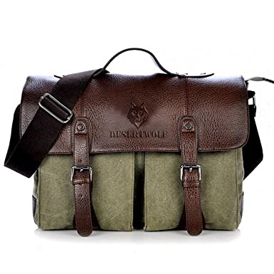 Amazon.com: DesertWolf Premium Cotton Canvas Cross Body Laptop ...