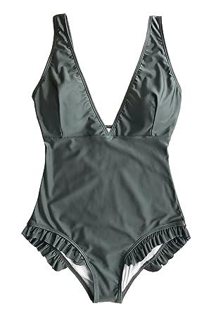 b9661a62e4 Cupshe Fashion Women s Sweet Smile Solid One-Piece Swimsuit Beach Swimwear  Bathing Suit (S