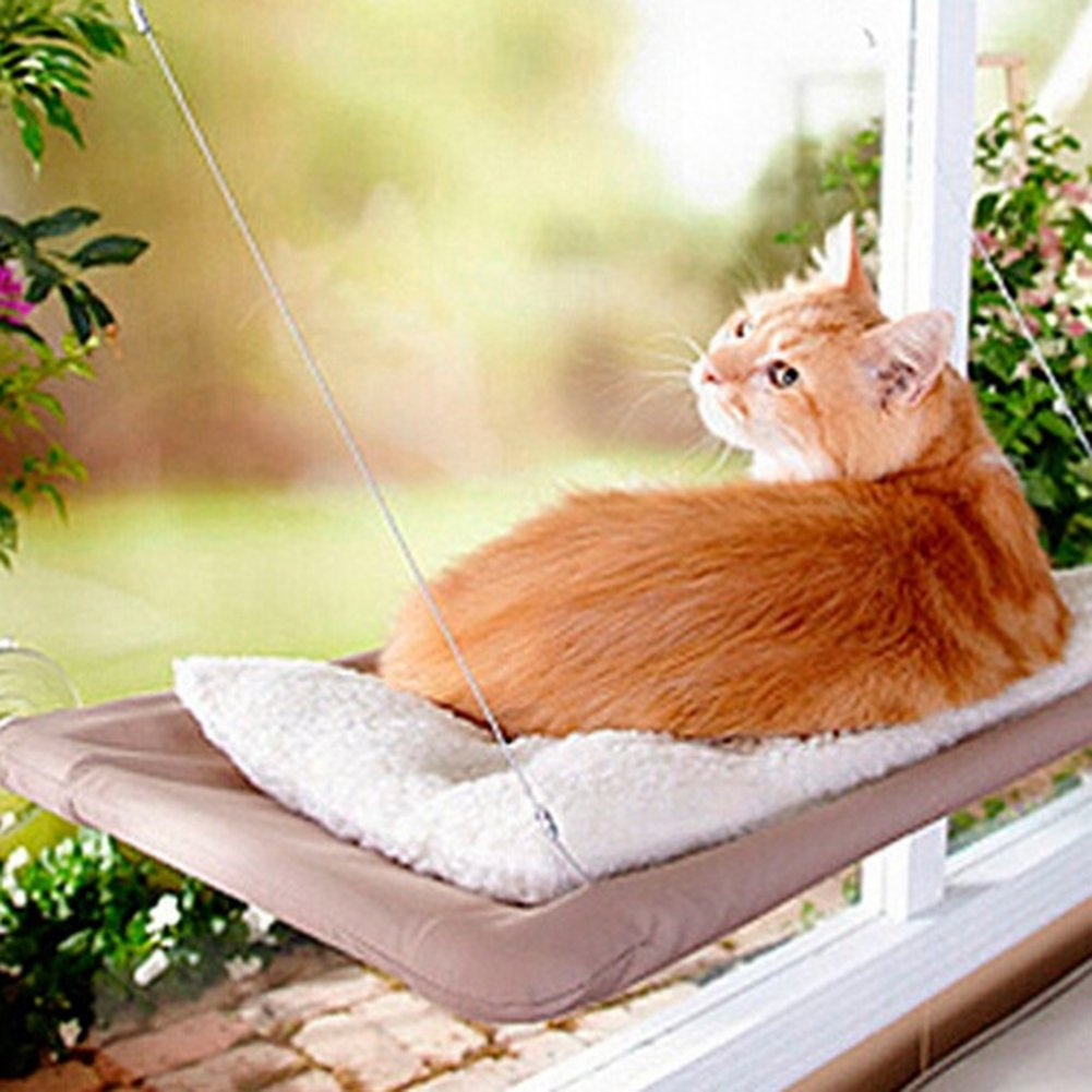 Etbotu Creative Window Mounted Cat Hammock with Suction Balcony Pet Bed Cushion Hanging Resting Seat