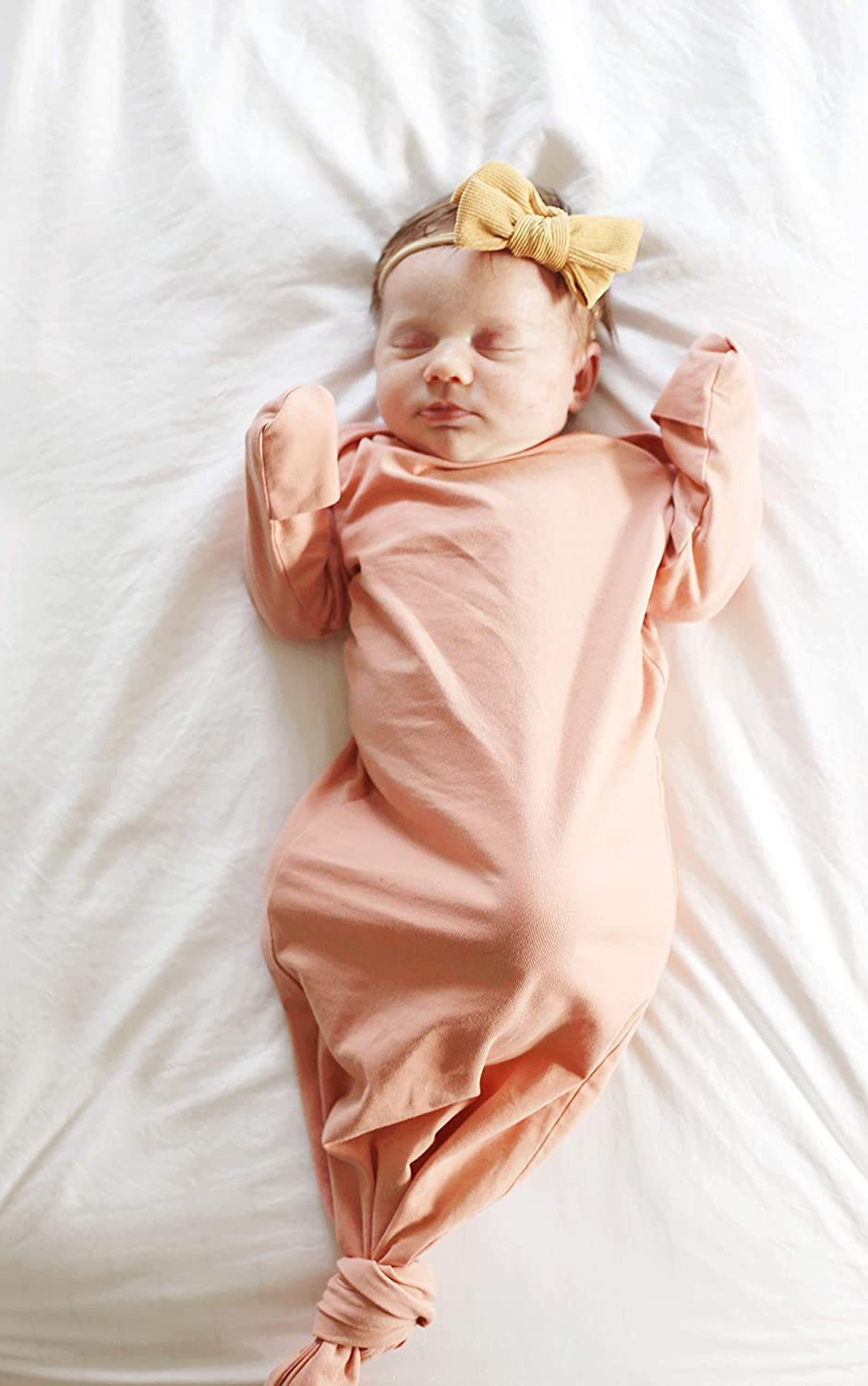 Marlowe /& Co Organic Cotton Knotted Newborn Baby Gown Soft Knotted Sleeper Gown for Baby Boy and Girl