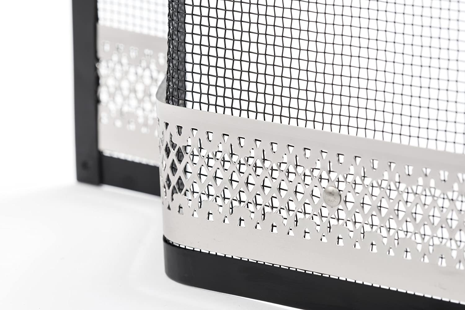 Arch Fire Guard/Spark Guard Screen for Lombard Sorrento Curve Top Fireplace 28 With Silver Filigree Crannog