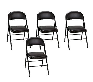 Sensational Cosco Vinyl Folding Chair Black 4 Pack Pabps2019 Chair Design Images Pabps2019Com