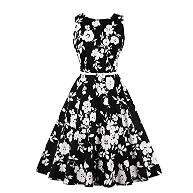 b075f015ec6 Wenx Women Floral Printing Retro Printed Pin Up Cotton Dress with ...