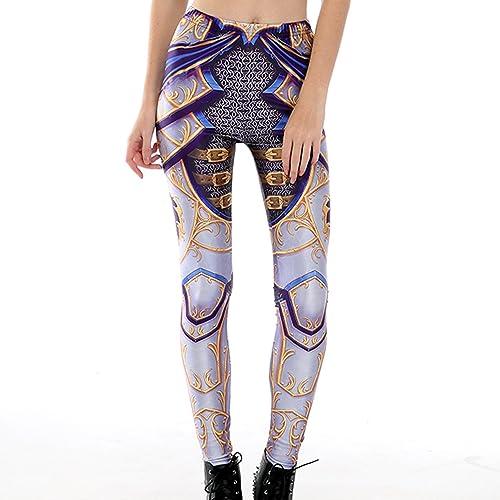 Jiayiqi Mujer Polainas Impresas Funky Elástico Medias Flaco Lápiz Pantalones