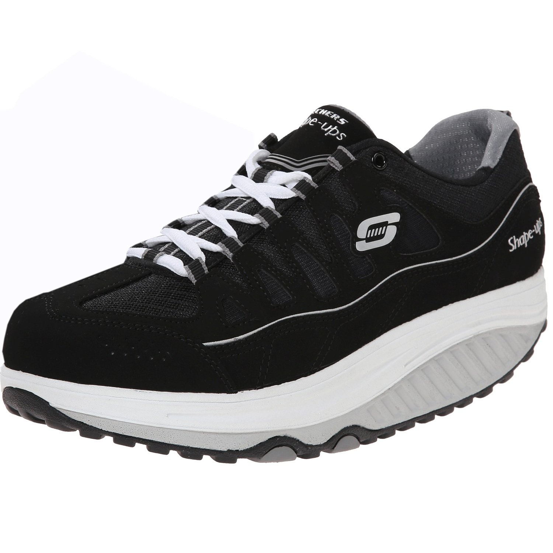Skechers Women's Shape Ups 2.0 Comfort Stride Fashion Sneaker, Black/White, 8.5 M US