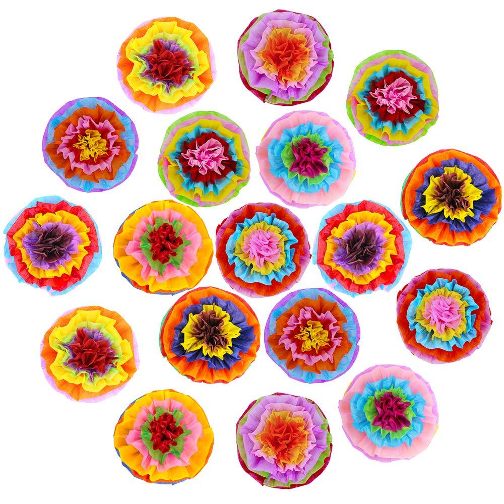Supla 18 Pcs Fiesta Paper Flowers Pom Poms Flowers Tissue Pom Poms 15.4'' Wide for Mexican Rainbow Theme Party Fiesta Cinco De Mayo Party