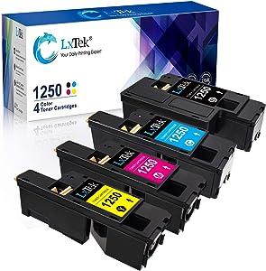 LxTek Compatible Toner Cartridge Replacement for Dell 1250 810WH C5GC3 XMX5D WM2JC to use with 1250c C1760nw C1765nfw C1765nf 1350cnw 1355cn 1355cnw Printer (Black Cyan Magenta Yellow, 4-Pack)