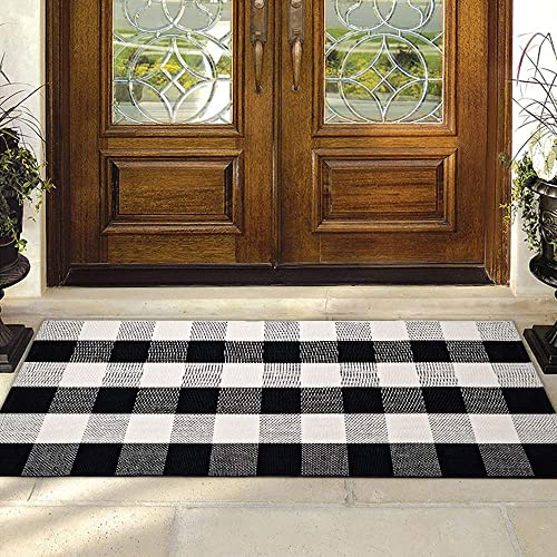 CHICHIC Buffalo Plaid Check Rug Area Rug Fall Doormat Checkered Floor Mats Welcome Layered Mat Indoor