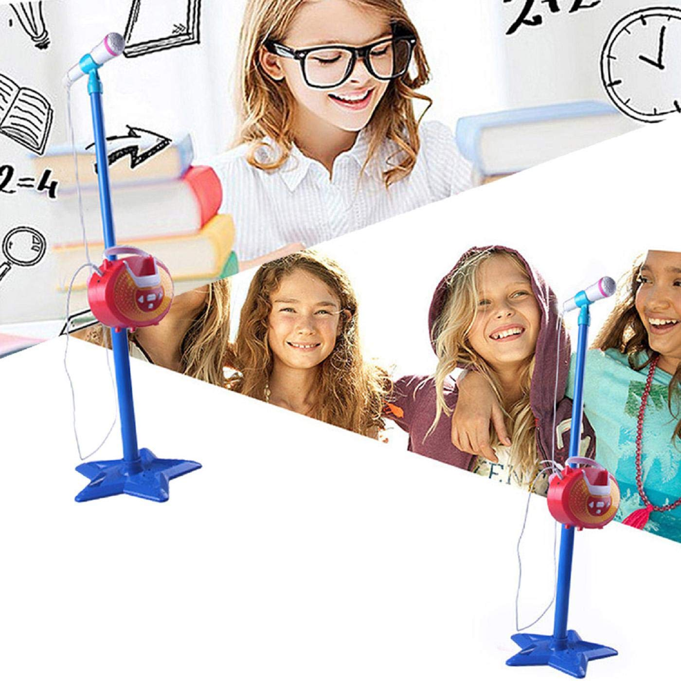 Putars Kids Girls Mp3 KaraokeMicrophone Adjustable Stand Light Sound,Music Sing Along with Flashing Stage Lights and Pedals for Fun,Microphone and Mic Stand - Online Exclusive by Putars toy (Image #5)