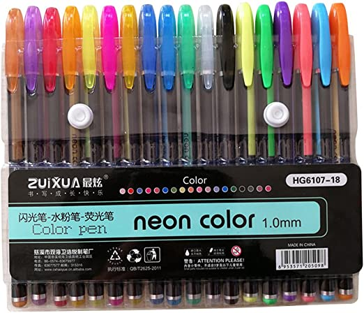 SUPVOX 18 Colores Glitter Gel Bolígrafos Metálicos Neones con Estuche Fine Point Gel Ink Roller Ball Ball Pens para Craft Drawing Painting: Amazon.es: Hogar